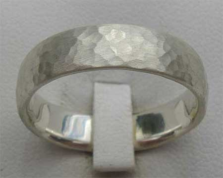 Beaten Sterling Silver Wedding Ring