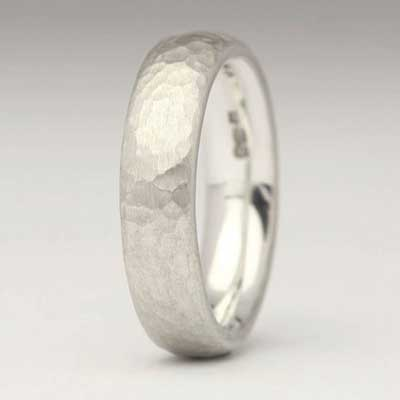 Beaten Sterling Sterling Silver Wedding Ring