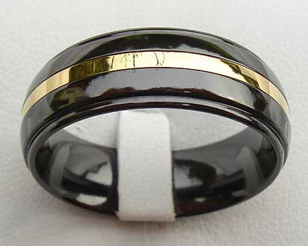 Black & Gold Inlay Mens Wedding Rin