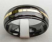 Black & Gold Inlay Mens Wedding Ring
