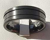 Black Grooved Mens Wedding Ring