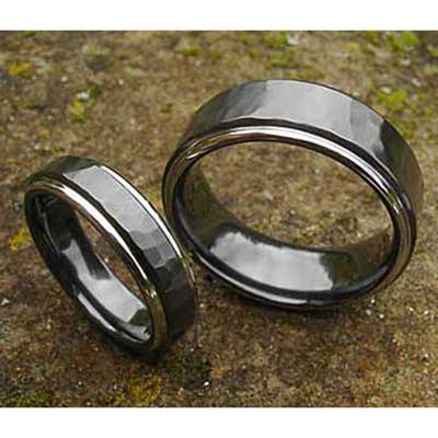 Black Hammered Mens Wedding Rings