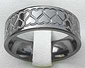 Black Hearts Mens Wedding Ring