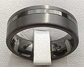 Black Twin Finish Mens Wedding Ring