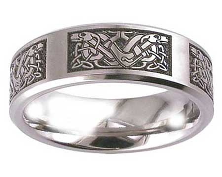 Celtic Dog Symbols Wedding Ring