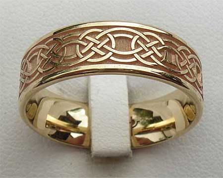 Flat Gold Celtic Wedding Ring
