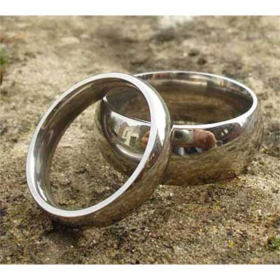 Classic Domed Titanium Wedding Rings