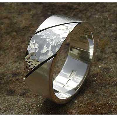 Diagonal Two Tone Sterling Silver Wedding Ring