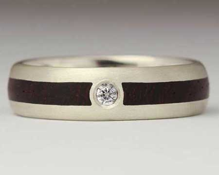 Diamond Inlaid Wooden Wedding Ring