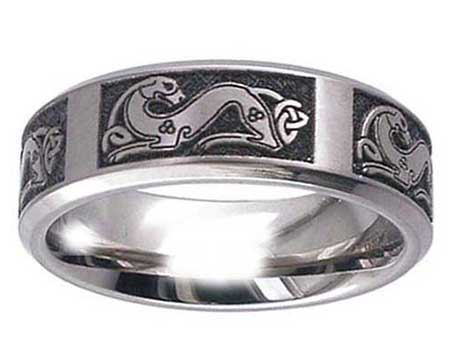 Dog Symbol Celtic Wedding Ring