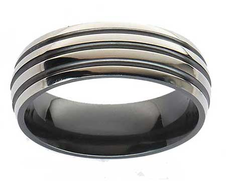 Grooved Domed Mens Wedding Ring