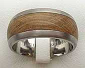 Domed Titanium & Wood Wedding Ring