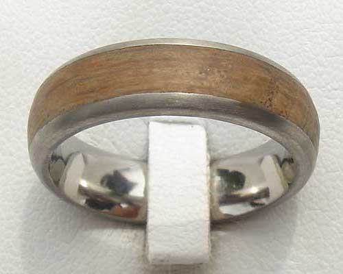 Domed Titanium & Wooden Wedding Ring