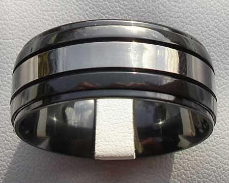 Domed Two Tone Mens Wedding Ring
