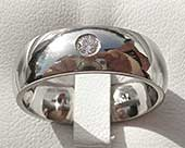 Domed White Diamond Wedding Ring