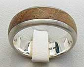 Domed Wood Inlay Wedding Ring