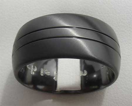 Double Grooved Black Mens Wedding Ring