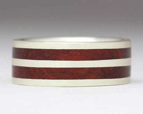 Double Inlay Wooden Wedding Ring