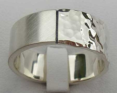 Dual Finish Sterling Silver Wedding Ring