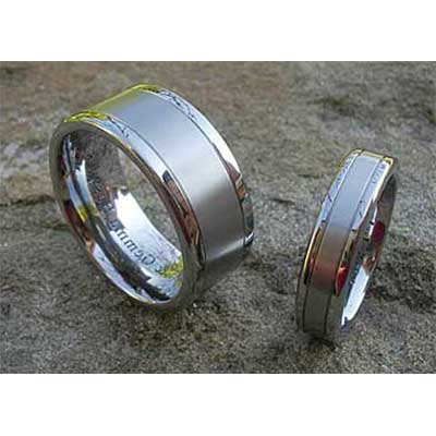 Dual Finish Titanium Wedding Rings