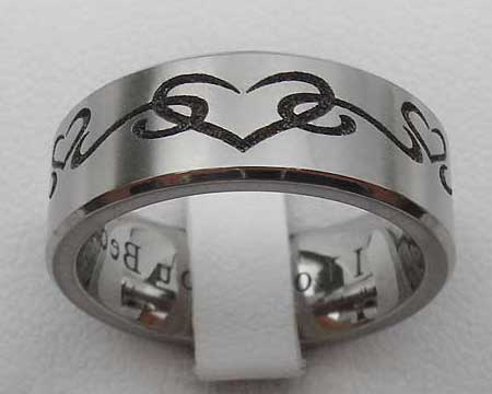 Engraved Hearts Titanium Wedding Ring