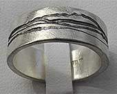 Etched Designer Silver Wedding Ring