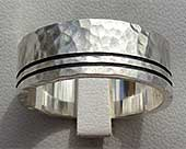 Etched Hammered Silver Wedding Ring