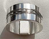 Etched Silver Mens Wedding Ring