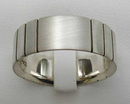 Etched Silver Wedding Ring