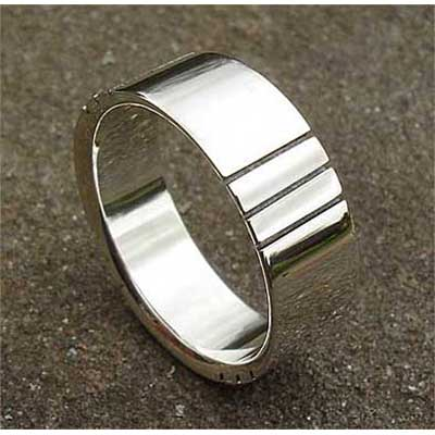 Etched Sterling Silver Wedding Ring