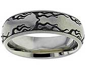 Flaming Fire Titanium Wedding Ring