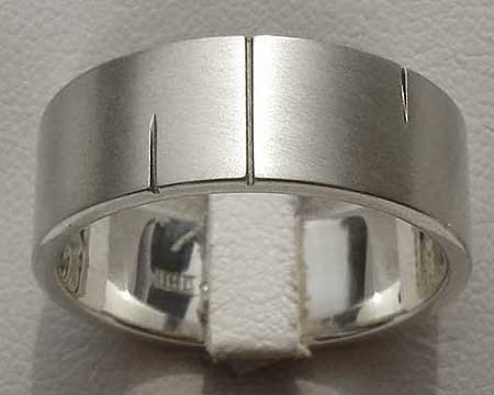 Flat Profile Etched Silver Mens Wedding Ring