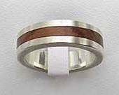 Flat Inlaid Wood Wedding Ring