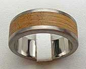 Flat Titanium & Wooden Wedding Ring