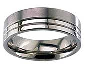 Flat Two Tone Titanium Wedding Ring
