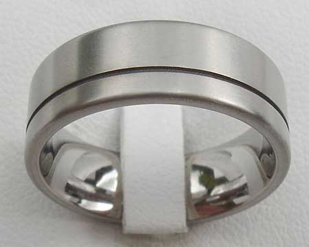 Frosted Twin Finish Titanium Wedding Ring
