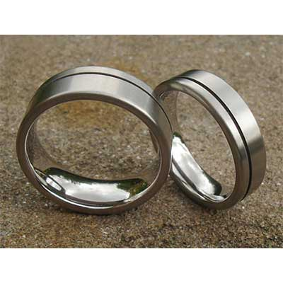 Frosted Twin Finish Titanium Wedding Rings