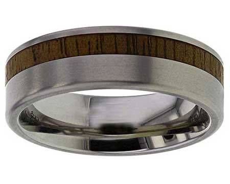 GETi Titanium & Inlaid Wooden Wedding Ring