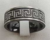 Greek Key Mens Wedding Ring