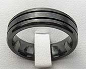 Grooved Black Mens Wedding Ring