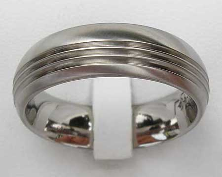 Grooved Domed Titanium Wedding Ring