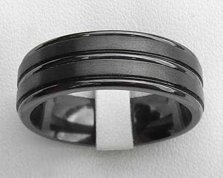 Grooved Mens Black Wedding Ring