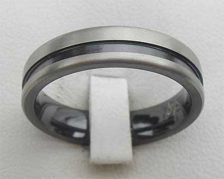 Grooved Two Tone Mens Wedding Ring