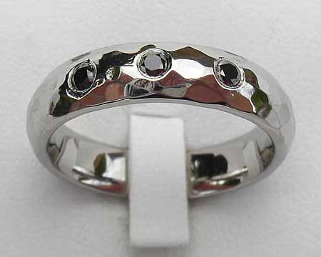 Hammered Black Diamond Womens Wedding Ring