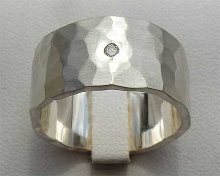 Hammered Diamond Mens Wedding Ring