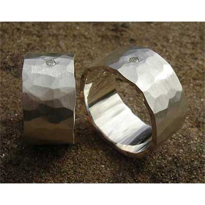 Hammered Diamond Mens Wedding Rings