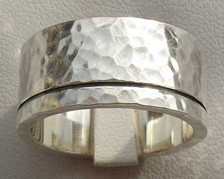 Hammered Etched Silver Wedding Ring
