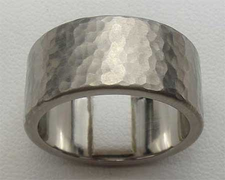 Hammered Flat Titanium Wedding Ring