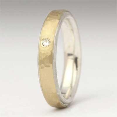 Hammered Gold Womens Diamond Wedding Ring