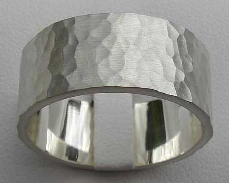 Hammered Silver Mens Wedding Ring